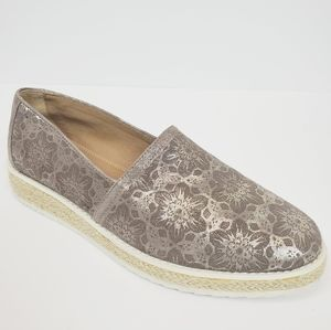 TRASK Cailyn Metallic Lace Suede Espadrilles